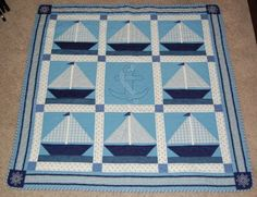 Another great sail boat quilt idea! Quilting Projects, Sewing Projects, Quilting Ideas, Nautical Baby Quilt, Beach Quilt, Ocean Quilt, Fish Quilt, Baby Quilt Patterns, Baby Boy Quilts