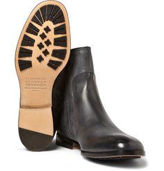 8c988374c10 Maison Martin Margiela Burnished Zipped Leather Boots via Mr Porter Man  Shop
