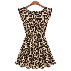 Scoop Neck Leopard Print Waisted Sleeveless Women's Dress, LEOPARD, XL in Dresses 2013 | DressLily.com