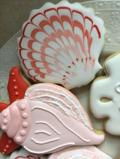 Conch Shell Cookie by The Green Lane Baker Summer Cookies, Fancy Cookies, Holiday Cookies, Custom Cookies, Edible Cookies, Iced Cookies, Cake Cookies, Sugar Cookie Frosting, Royal Icing Cookies