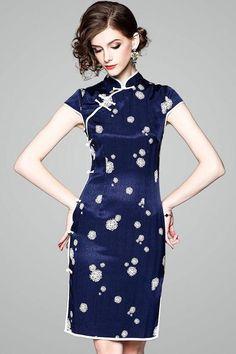 Snow Print Qipao Dress