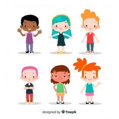 Colorful children collection with flat design Free Vector - Frauen Haar Modelle Fantasy Character, Kid Character, Character Flat Design, The Office Characters, Cartoon Caracters, Banners, Design Plat, Kids Vector, Cartoon Boy