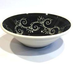 Black Henna Vine Porcelain Serving Bowl by PaulaFocazioArt on Etsy