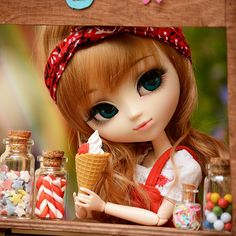 No one can resist ice cream - especially if this girl is selling it to you! ^__~ What's your favourite ice cream flavour? Wool Dolls, Felt Dolls, Cute Cartoon Girl, Anime Girl Cute, Beautiful Barbie Dolls, Pretty Dolls, Baby Barbie, Barbie Images, Cute Baby Dolls