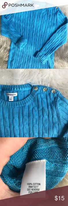 """Croft & Barrow Cable Knit Blue Sweater Excellent condition sky blue cable knit sweater by Croft & Barrow. Great for fall and winter layering! Button detailing at shoulder, crew neck, 100% cotton, long sleeve. Approx. measurements when laid flat: 16"""" waist, 21"""" sleeve, 25"""" length. croft & barrow Sweaters Crew & Scoop Necks"""