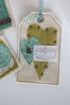 Another fabric heart gift tag