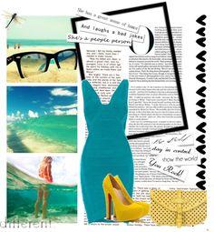 """2013 Summer Herve Leger V neck turquoise bandage dress"" by shoeswithredsoles on Polyvore"