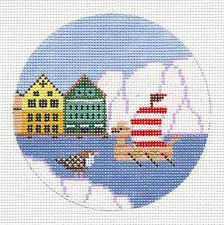 """Painted Pony NORWAY Viking Ship handpainted Needlepoint Canvas 4"""" Rd. Ornament"""
