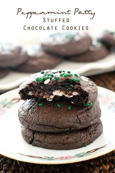 PEPPERMINT PATTY STUFFED CHOCOLATE COOKIES on MyRecipeMagic.com. 5 ingredient cake mix cookies with York Peppermint Patties baked inside. These Peppermint Patty Stuffed Chocolate Cookies are soft and have a deep chocolate and mint flavor.