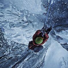 Hanging by a thread   photo: Renan Ozturk #solarlife #adventure #climbing