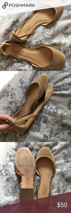 Nude Suede Talbots Flats Worn maybe once! Perfect condition other than small scuff on the toe as shown in the pictures. Real suede and sturdy soles. Fit true to size Talbots Shoes Flats & Loafers