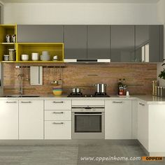 OP15-A06: Modern White and Gray High Gloss Acrylic Kitchen Cabinet