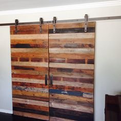 We created sliding barnwood doors out of reclaimed wood for his home. #woodwork #design #interiordesign #woodworking #interiordesigns #interiordesigners #interiordesignideas #architectural #reclaimedwood #reclaimed #woodwork #craftsman #happycustomers #losangeles #la #upcycle #salvaged #antique