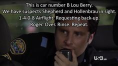 "Psych Season Five Episode We'd Like To Thank The Academy Haha, oh Shawn. ""This is car number B Lou Berry. Psych Memes, Psych Tv, Psych Quotes, Movie Quotes, Funny Quotes, Best Tv Shows, Best Shows Ever, Favorite Tv Shows, Movies And Tv Shows"