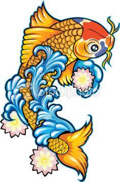 Tatouage, Carpe Koï, Poisson, Culture japonaise, Art | Stock Illustration | iStock FR