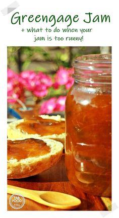 Greengage Jam Plum Jam Recipes Easy, Vegan Recipes Easy, Fruit Recipes, Brunch Recipes, Dinner Recipes, Summer Recipes, Canning Recipes, Kitchen Recipes, Jar Recipes