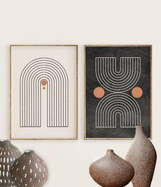 Mid Century Modern Art Print Set of 2 Neutral Geometric Mid Century Modern Art, Mid Century Art, Modern Art Prints, Modern Wall Art, Modern Art Deco, Abstract Wall Art, Abstract Oil, Art Deco Wall Art, Art Deco Print