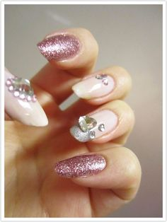 Valentine's Day nails - Diamond hearts (via Zigi Ztyle)
