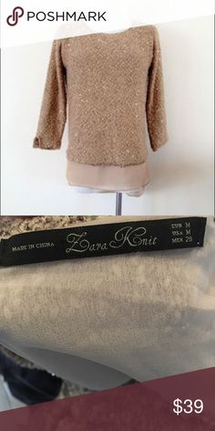 Zara Knit Deep V Sequin Sweater in Gold Amazing sweater by Zara! Slightly oversized, a chiffon under tank, so beautiful! Deep V neck. 💕 Bundle 3 items and get 30% OFF. Offers welcome. No trades please 💕 Zara Sweaters Crew & Scoop Necks