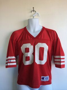 f3e1ee75b Vintage San Francisco 49ERS Jersey  Rare 90s JERRY RICE 80 Forty Niners  Made in UsA Champion Nylon Jersey  Football Youth Size XLarge 18-20