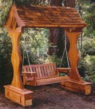 covered swing ~ add vines or climbing flowers for arbor look
