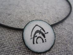 Black and white copper enamel pendant by chitowndesign on Etsy