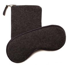 Cashmere Eye Mask and Pouch - Dark Grey Melange