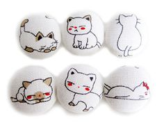 Cat Expressions  Fabric Covered Buttons  6 Large by heydayhandmade, $7.50