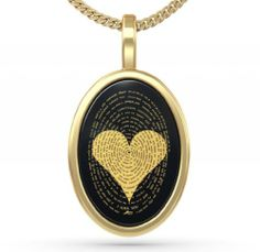 I LOVE YOU NECKLACE: Gold Plated Love Jewelry - I Love You Necklace In 120 Languages Inscribed in 24kt Gold on Black Onyx Stone - Heart Pendant - Uni...