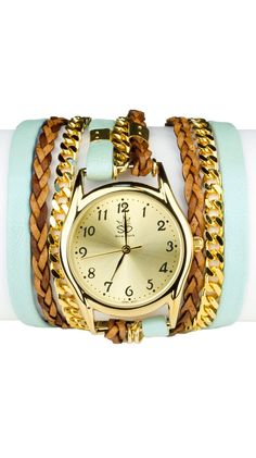 Leather And Chain Wrap Watch - Lt. Blue