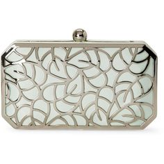 La Regale Mint Leaf Cutout Box Clutch (€35) ❤ liked on Polyvore featuring bags, handbags, clutches, purses, green, mint green purse, mint handbags, box clutch, round purse and mint purse