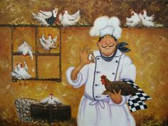 Chicken Chef Art Print fat chefs chef art kitchen wall art egg farmer funny roosters chicken coop whimsical USD) by VickieWadeFineArt Chef Kitchen Decor, Kitchen Wall Art, Chefs, Fine Art Prints, Canvas Prints, Chicken Art, Le Chef, Cool Paintings, Funny Art