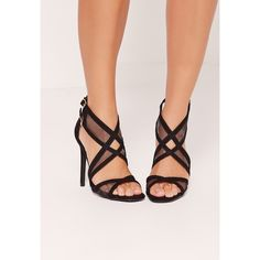 Missguided Mesh Panelling Strappy Gladiator Heels ($54) ❤ liked on Polyvore featuring shoes, sandals, black, gladiator shoes, strappy gladiator sandals, high heeled footwear, mesh sandals and black strappy sandals