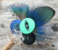 Customisable Boutonniere / Corsage / Buttonhole - Rustic Green Blue Vintage Glass Button Peacock Feather - Country Boho Wedding - Mr and Mr