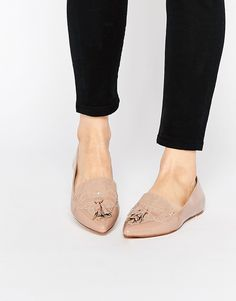 Image 1 ofFaith Aaliyah Nude Tassel Pointed Toe Flat Shoes