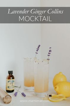 The Lavender Ginger Collin Mocktail is perfect for bridal showers or baby showers. With lavender, ginger, lemon, and white tea, this nonalcoholic drink is light and refreshing. Best Mocktail Recipe, Easy Mocktail Recipes, Summer Drink Recipes, Summer Drinks, Cocktail Recipes, Cocktail And Mocktail, Non Alcoholic Cocktails, Best Mocktails, Lavender Drink