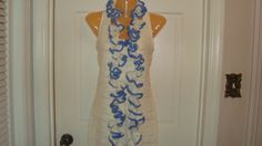 Hand-Crocheted Soft White Ruffled Crochet Scarf with Blue Tips