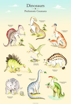 https://flic.kr/p/qWMepc | Dinosaur Poster . Watercolor dinosaurs | Blogged here