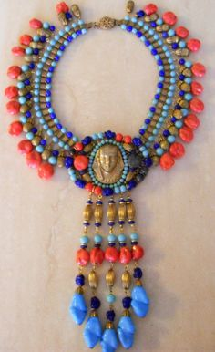 Vintage Miriam Haskell Egyptian Revival Necklace by Larry Vrba, circa 1970's