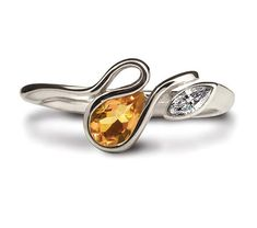 This attractive Salsa ring is made in Argentium Silver, set with a 6 x 4mm pear shaped citrine stone and a 4 x 2mm CZ marquise. The ring is available in sizes J to R and there are a variety of colourful gemstones that you can choose from.  Each ring is marked with the prestigious Britannia Silver hallmark, together with the Argentium Winged Unicorn Trademark - the guarantee of purity and quality. #Argentium #Silver Keepsake Rings, Blue Topaz Ring, Blue Rings, Gemstone Colors, Pear Shaped, Salsa, Heart Ring, Unicorn, Amethyst