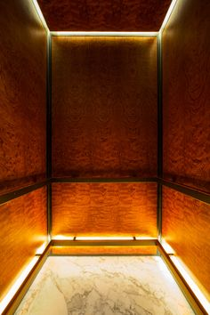 TUVE Hotel in Hong Kong by Design Systems provides unique indirect accent lighting and exotic burl wood just like a fine car interior. Elevator Design, Lift Design, Hongkong, Lifted Cars, Clinic Design, Das Hotel, Hotel Interiors, Design System, Boutique Design