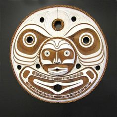 **Kwaguilth Moon Mask carved in red cedar wood by Jason Hunt from the Kwakiutl or Kwakwaka´wakw Nation.