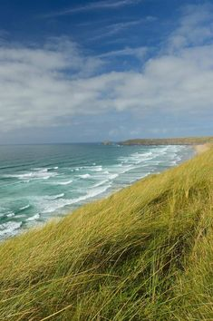 Looking north up the coast from Perran Sands Cornwall