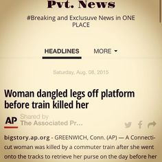 Woman KILLED BY TRAIN: Pvt. News is OUT  http://ift.tt/1CeNjph #PvtNews Or Google #PvtNews