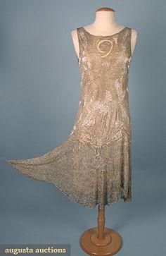 Augusta Auctions, April 2006 Vintage Clothing & Textile Auction, Lot 654: Silver Beaded Dance Dress, 1920s