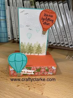 Above The Clouds, My Fb, Hot Air Balloon, I Card, Card Stock, Stampin Up, Balloons, Place Cards, Crafty