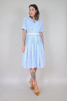 FALL SALE 50s sky blue STRIPED shirt Dress by NOIROHIOVINTAGE