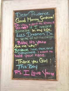 Chalkboard with poem made entirely of Song titles by the Beatles