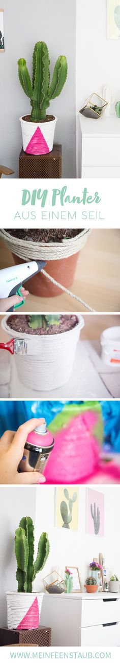 Kreative DIY Upcycling Idee zum Nachbasteln: Boho-Pflanztopf einfach aus einem Seil selbermachen   mit Step by Step Anleitung