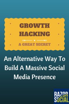 Growth Hacking: An Alternative Way To Build A Massive Social Media Presence Social Media Automation, Social Media Analytics, Social Media Tips, Social Media Marketing, Marketing Automation, Facebook Marketing, App Marketing, Growth Hacking, Pinterest Marketing